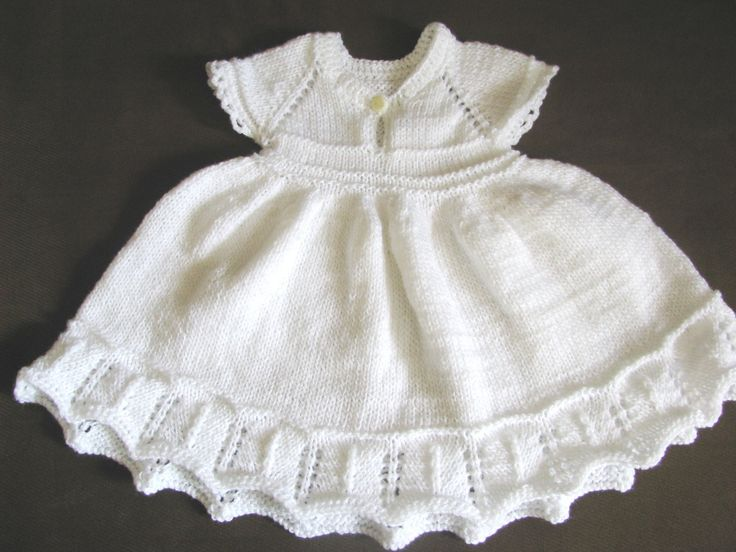 knit baby girl white dress, christening, baptism dress, baby shower gift made to order by delectare on Etsy