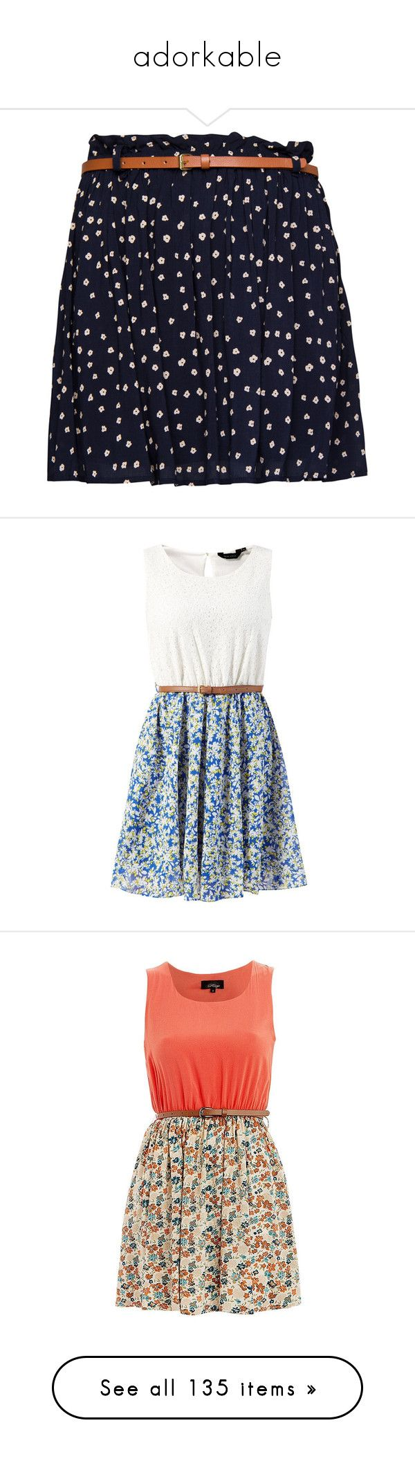 """""""adorkable"""" by coralkahler ❤ liked on Polyvore featuring skirts, bottoms, saias, faldas, navy, navy blue flared skirt, floral skater skirts, navy flared skirt, navy skater skirt and navy floral skirt"""
