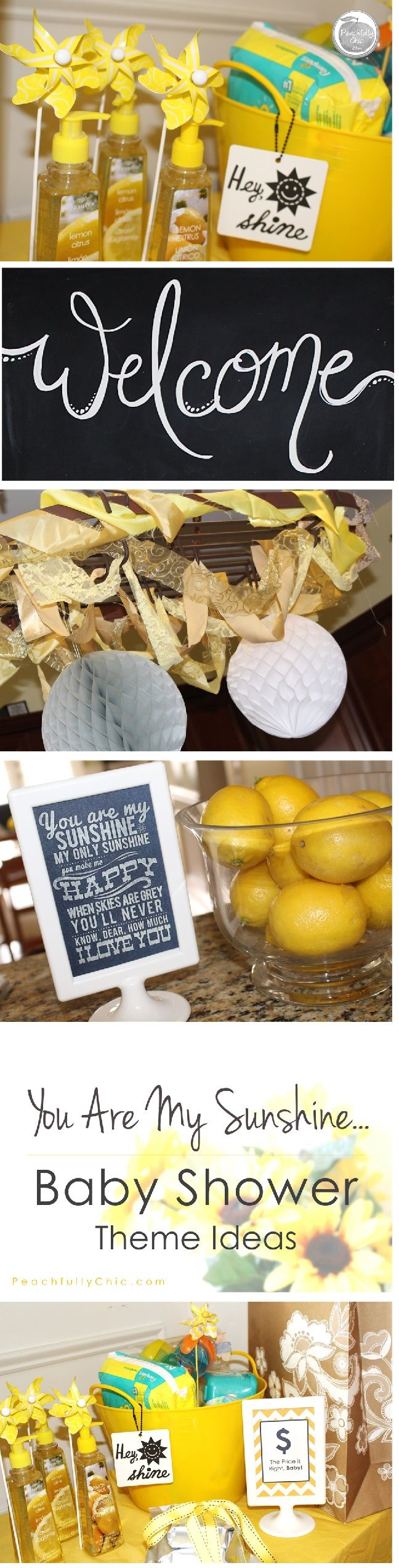 "All the decor inspiration and food ideas to host the perfect ""You Are My Sunshine"" Baby Shower themed party. Decor, Games, Food, & More!"