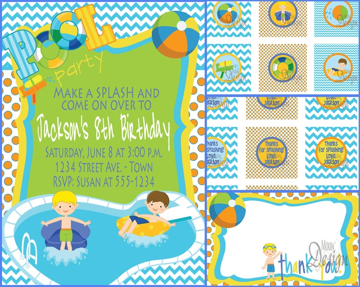 the  best ideas about water party invitations on, party invitations