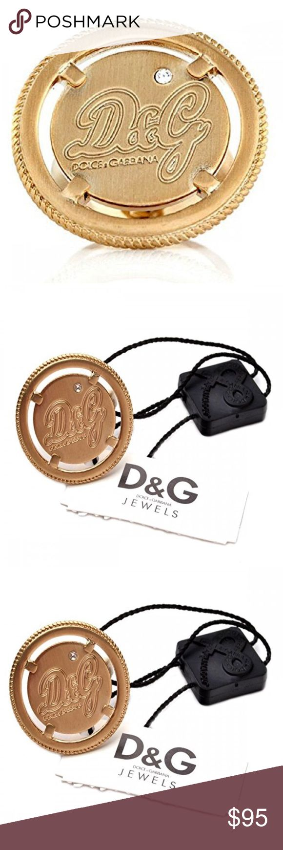 Dolce & Gabbana D&G Coin Ring w/ Swarovski Crystal Dolce & Gabbana D&G Jewels Ladies Gold Coin Ring with embedded Swarovski Crystal. Brand new. Comes with D&G Case & Authenticity Certificate. D&G Jewelry Rings