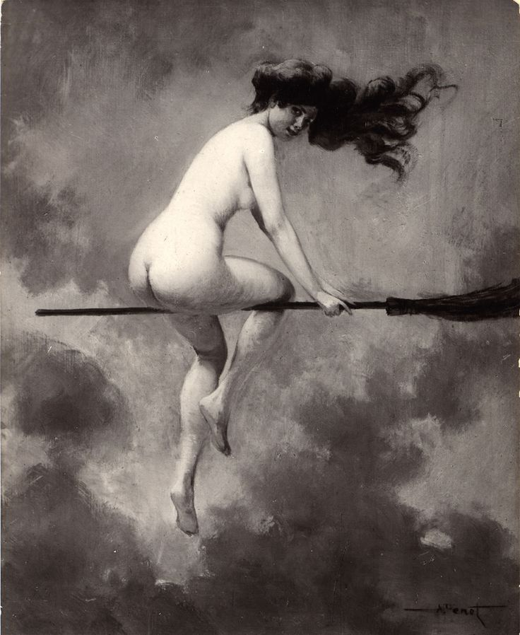 "'Depart pour le Sabbat' (or 'Aufbruch zum Hexensabbat') was painted by the prolific French artist Albert-Joseph Pénot (1862–1930). On sexarte we are told that Pénot ""exhibited successfully in the Paris Salons"" and that he ""was awarded with a honorable mention in 1903 and a third place medal in 1908."" The postcard, from which these images are taken, has the caption ""Salon d'Hiver."" This was one of the famous art salons of Paris."