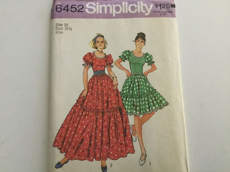 Original 70s simplicity pattern 6452 ladies size 10/bust 32 1/2 dress short and long with cumberbund by Hannahandhersisters on Etsy