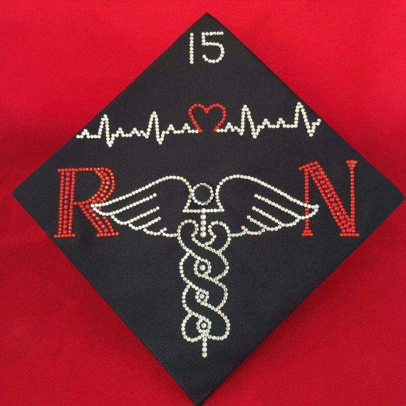 Nursing Custom Rhinestone Graduation Cap by BlingBlingbyBri