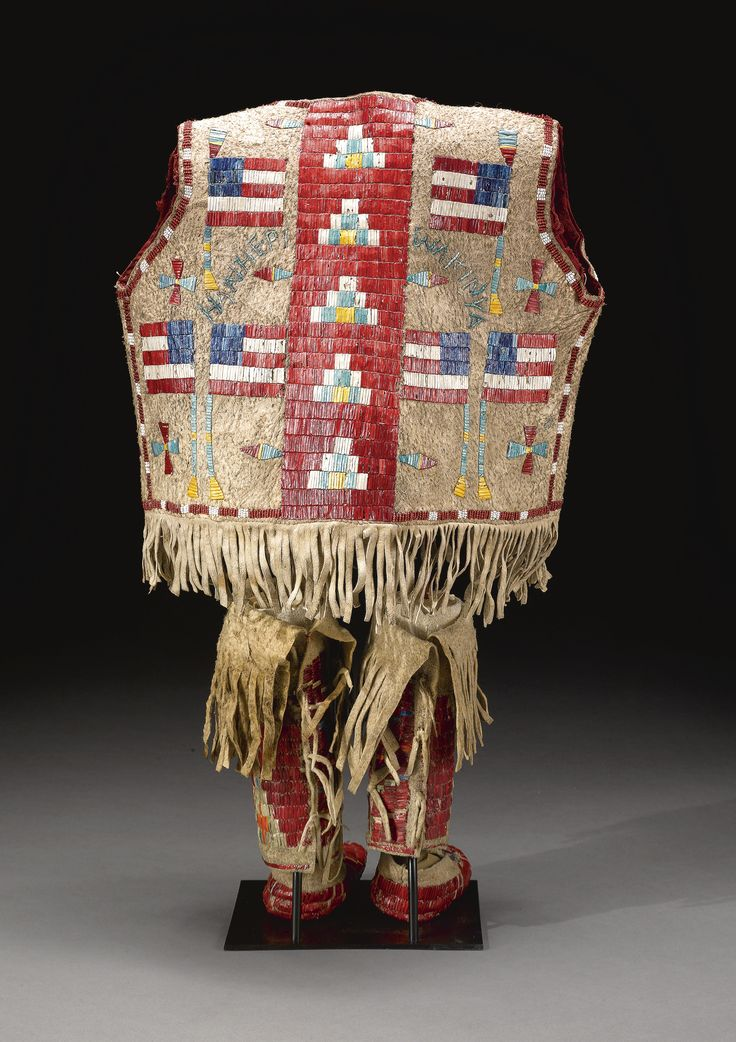 Sioux Beaded and Quilled Vest, Leggings and Moccasins.