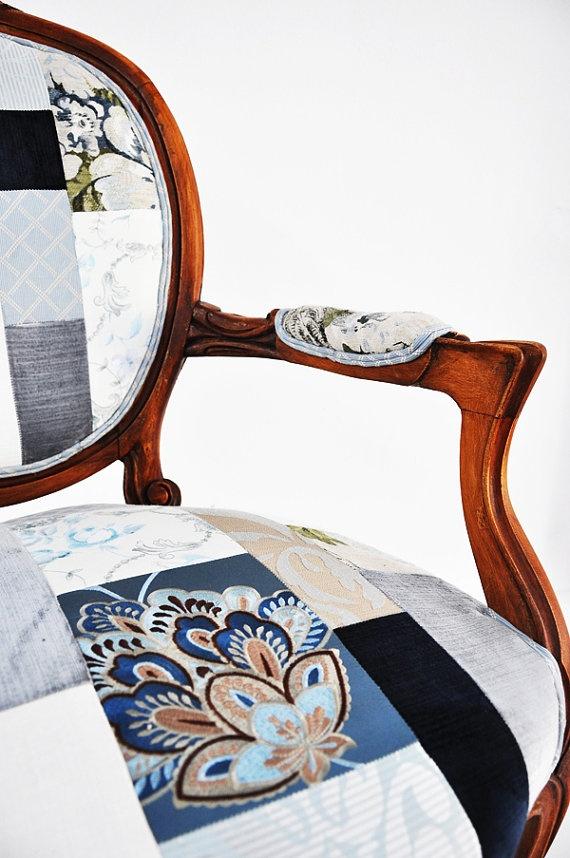 Blue patchwork armchair