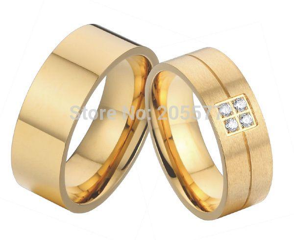 Классический 18 К позолоченные 8 мм здоровья титана обещание свадебные обручальные кольца обручальные пары кольца наборы для мужчин и женщины 2015