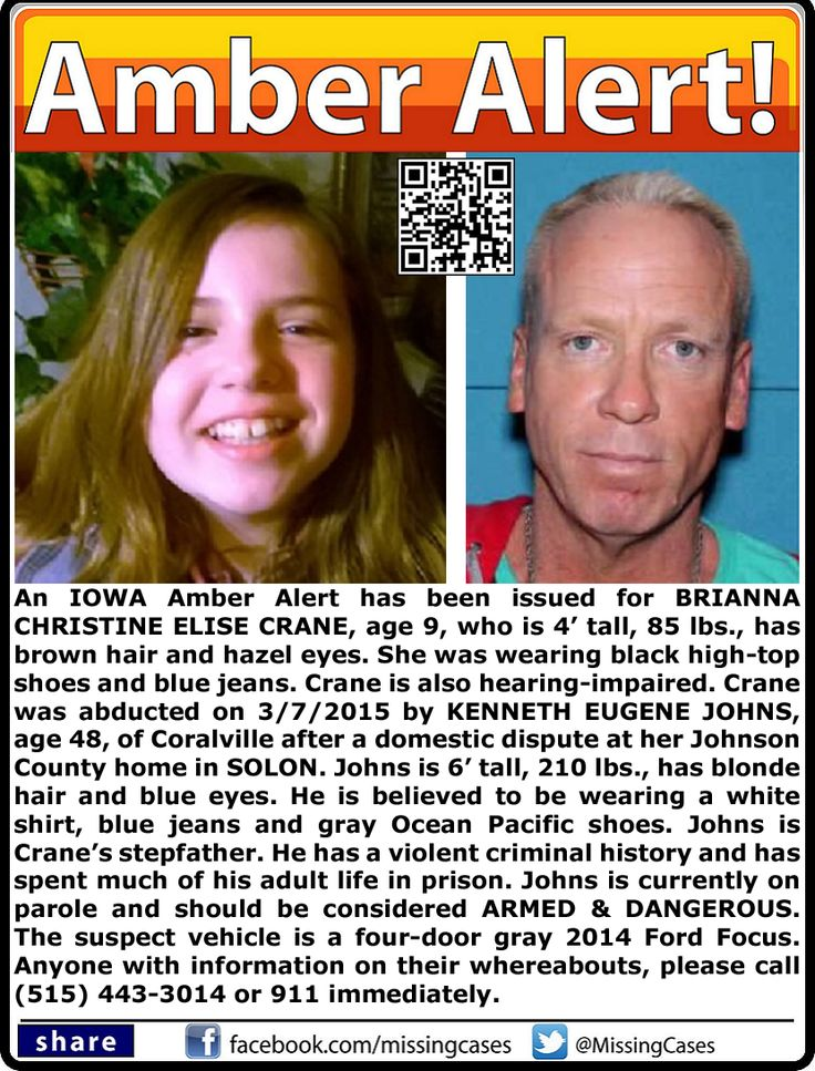 CHILD ABDUCTION! 3/7/2015: Brianna Crane, age 9, is #missing from Johnson County, Iowa. She was abducted by Kenneth Johns, age 48. ***Thank you for repinning!