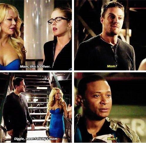 Arrow - Diggle, Oliver, Donna and Felicity #3.5 #Season3 <3 ''Mom ?'' awkward