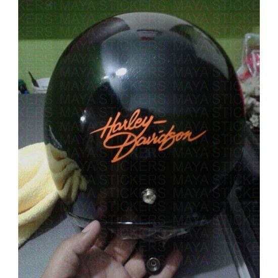 Unique design harley davidson sticker applied on helmet                                                                                                                                                                                 More