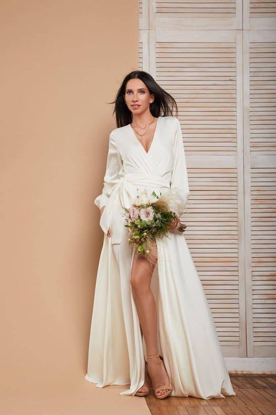 Gorgeous Ivory Silk Maxi Wrap Dress Long Sleeve Dress Bridesmaid Dress Silk Evening Dress Long Dres Vintage Wrap Dress Casual Wedding Dress Wedding Guest Dress