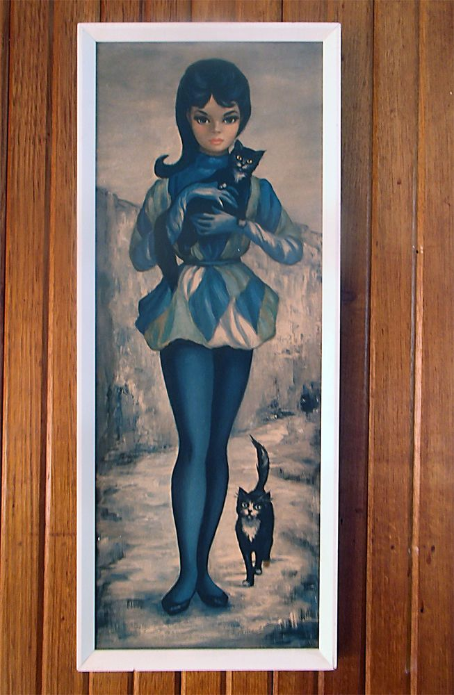 Vintage print 'Harlequin with Kitten' by Margaret Maio