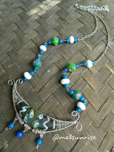 Can't leave blue, tinned cooper wirework with javabeads