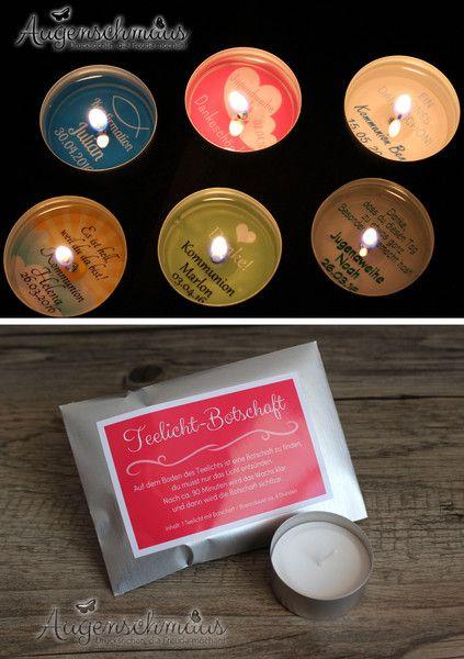 10x Gastgeschenke Kommunion Firmung Teelicht Kerze von Augenschmaus auf DaWanda.com
