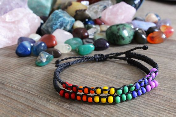 LGBT armband, lesbische Gay-Bi en Trans trots ondersteuning armband, Beaded LGBT armband, regenboog kralen armband, Rainbow armband