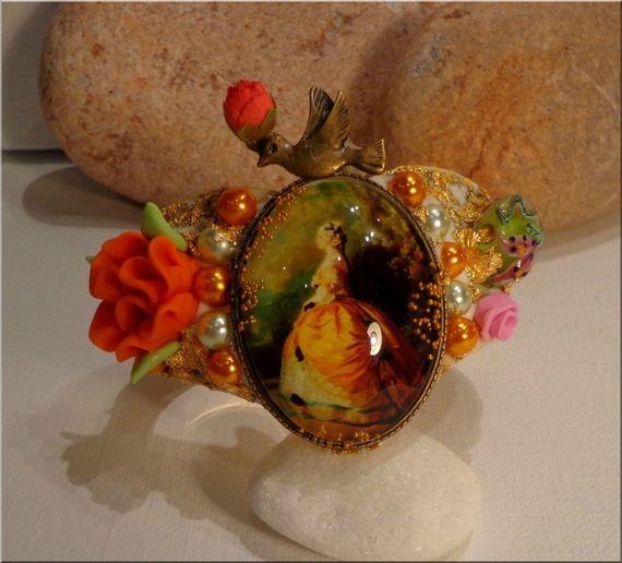 Bracelet Cabochon Baroque orné de Fleur Porcelaine Froide, Perle Artisanale, Perles Renaissance : Bijoux Chic