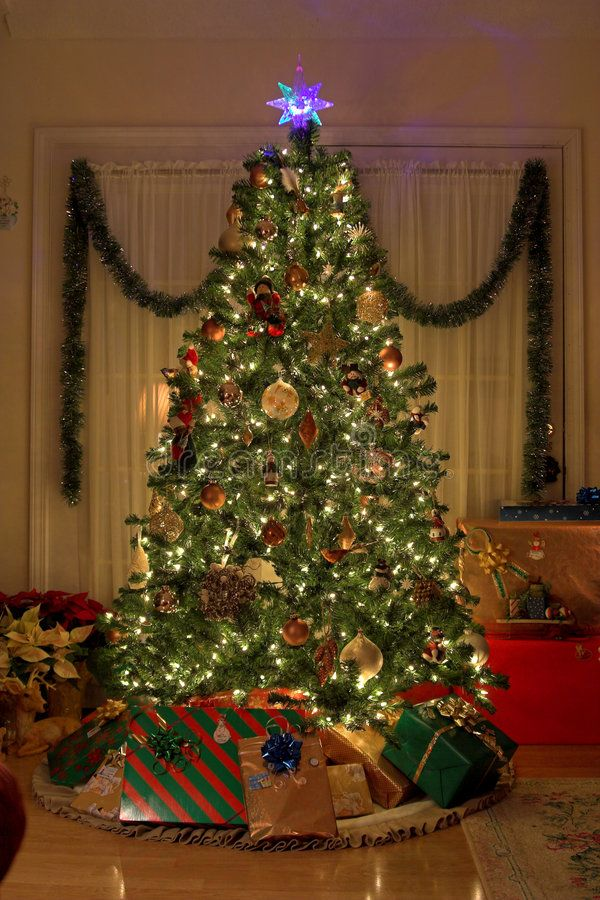 Home Christmas Christmas Tree In Warm Home Lights On Presents Under Tree Aff Tree Warm Christmas Tree Delivery Christmas Tree Christmas Stock Photos