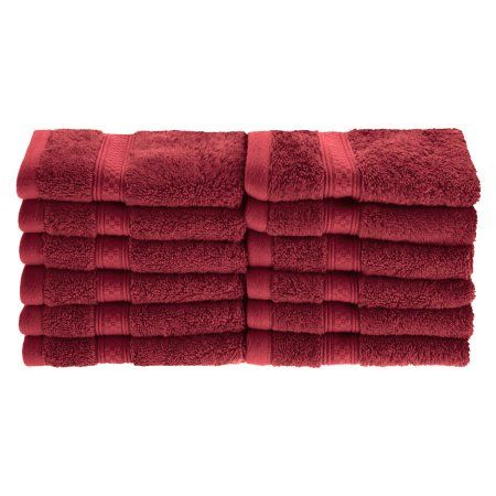 Superior 650GSM Rayon From Bamboo 12-Piece Face Towel Set, Red