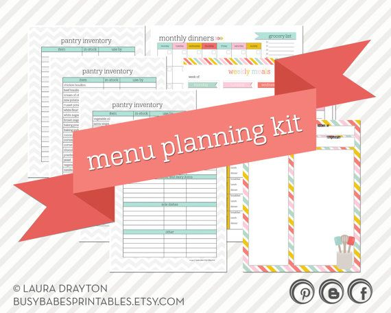 Chevron Menu Planning Kit - Monthly Meal Planner - Weekly Meal Planner - Pantry and Freezer Inventory - INSTANT DOWNLOAD