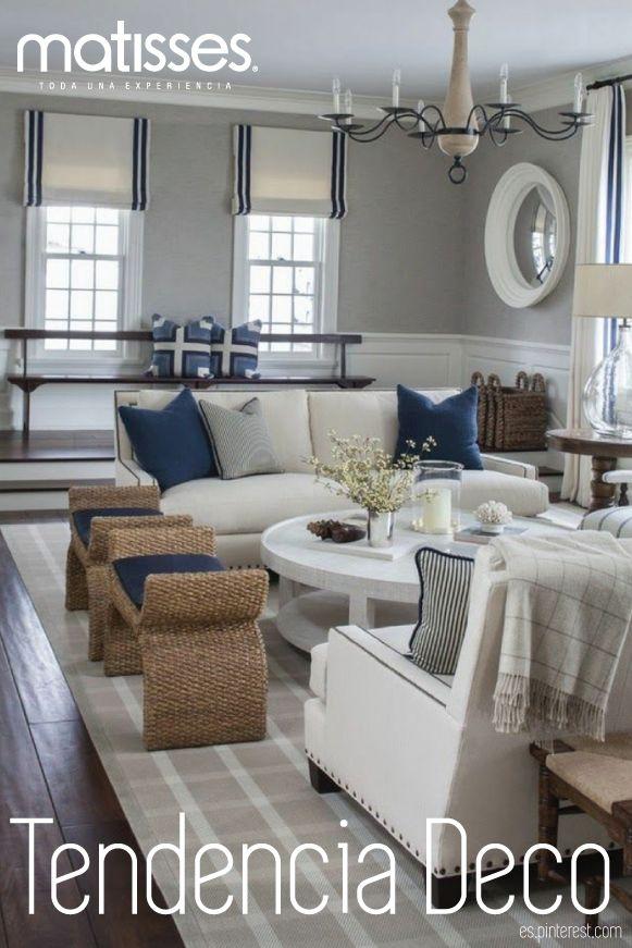Si deseas darle un estilo más fresco a la decoración del hogar, recurre al estilo #navy; incorpora una paleta de color blanca y azul, muebles de madera y estampados con líneas