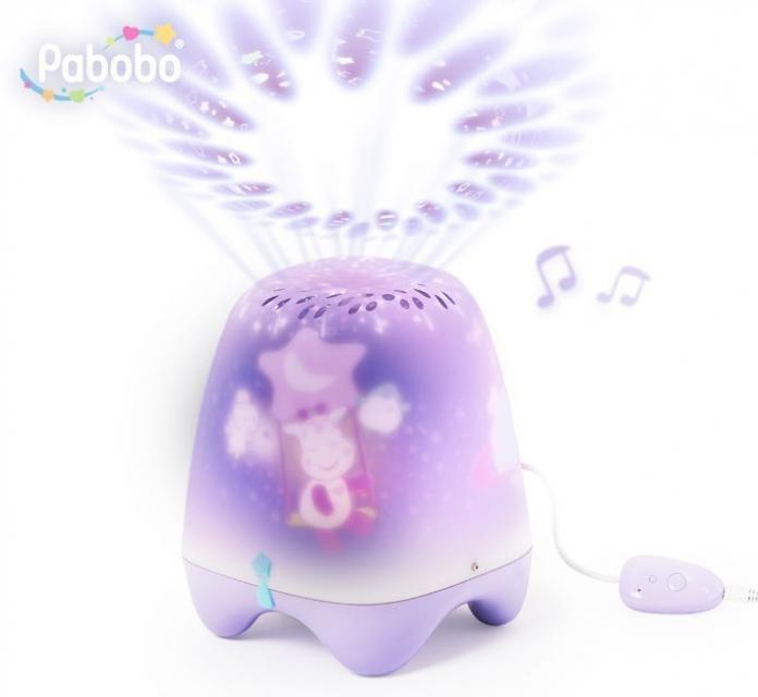 Pabobo Teatrzyk Żyrafa projektor - lampka.  Muzyczny Teatrzyk to doskonale uspakajająca zabawka LED dla dzieci.
