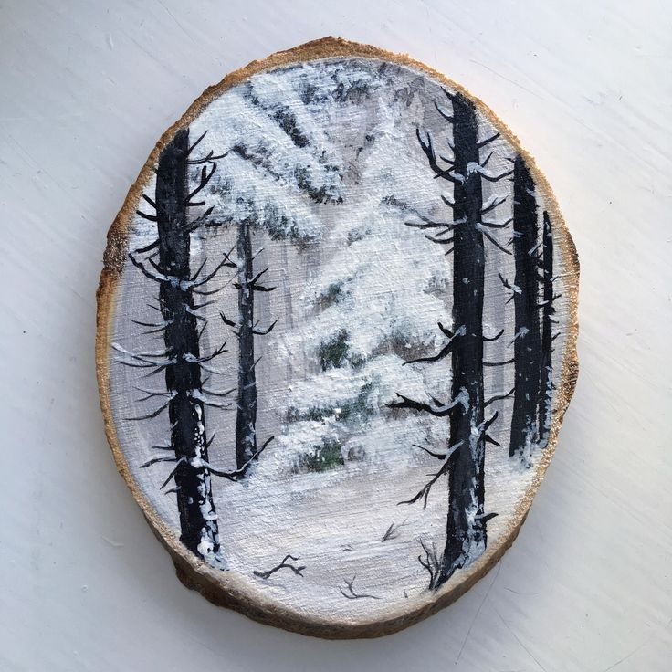 Original Art: Hand painted wood slice with winter landscape. Nordic, Scandinavian, snow, woodland, woods, forest, trees, pine, landscape. by ArtLisbethThygesen on Etsy