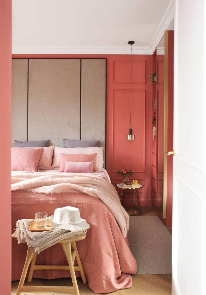 coloris rouge pinot dans une chambre fille, déco cozy et romantique ...