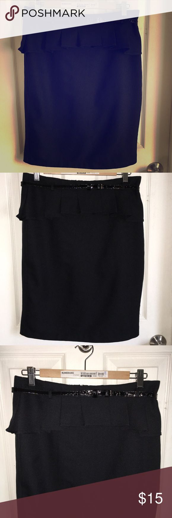 Black peplum skirt - The Limited This is a black peplum skirt from The Limited. Size 6. Belt included. Excellent condition. The Limited Skirts Midi