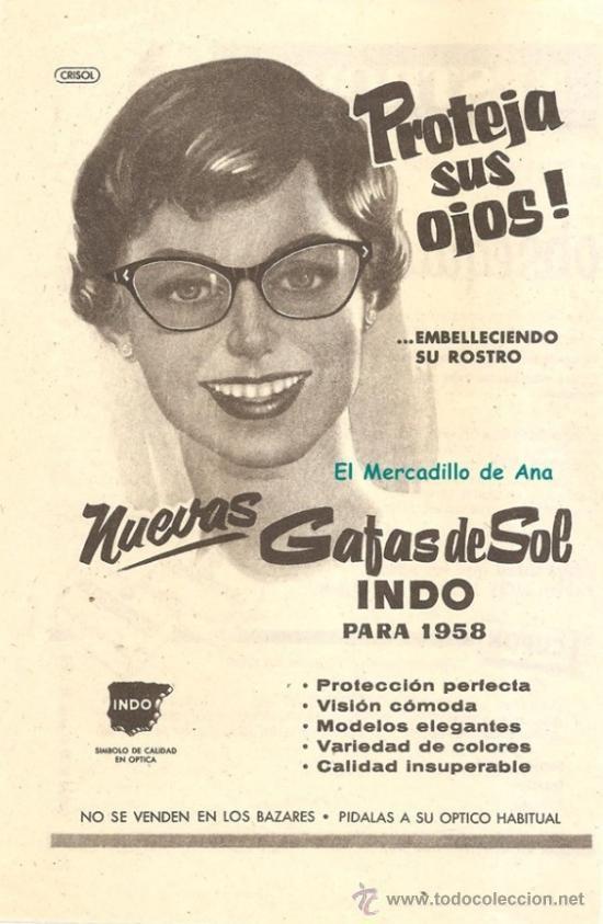 PUBLICIDAD DE GAFAS DE SOL INDO ÓPTICAS SANT CUGAT DEL VALLÉS  ANUNCIO DE PRENSA CARTEL PEQUEÑO