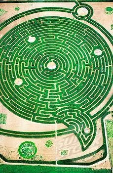 Aerial view of labyrinth at park in Rignac. Touraine, Val-de-Loire. France This looks amazing