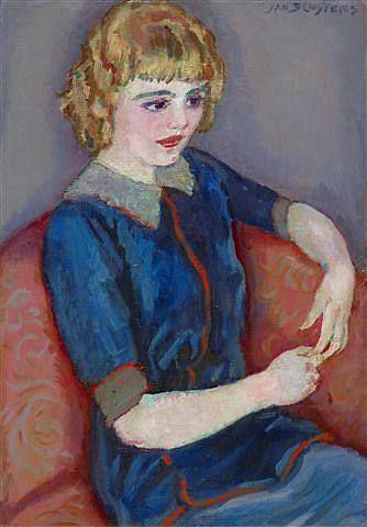 Girl at a red sofa - Jan Sluyters