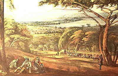 Durban from the crest of the Berea. Circa 1847.   from http://www.natal-tourism.co.za/durban/graphics/berea1.jpg.