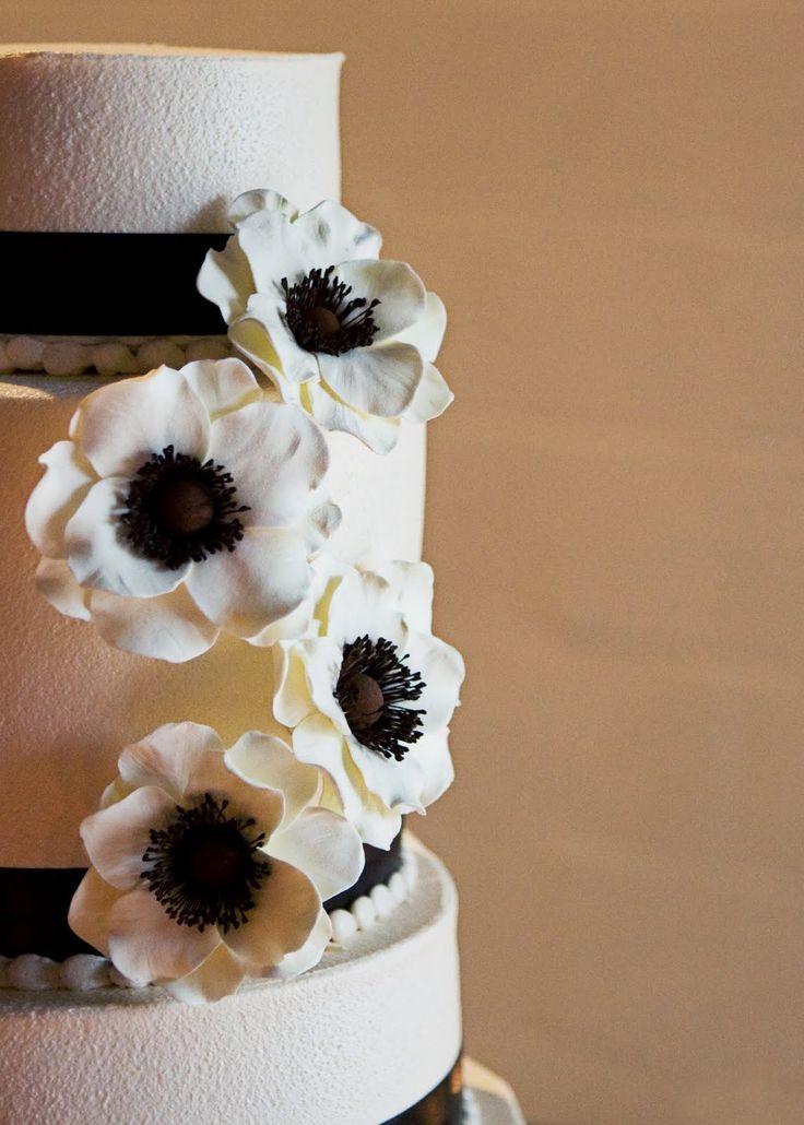 Anemone wedding cake flowers bouquet silk sugar gumpaste alternative. $110.00, via Etsy.