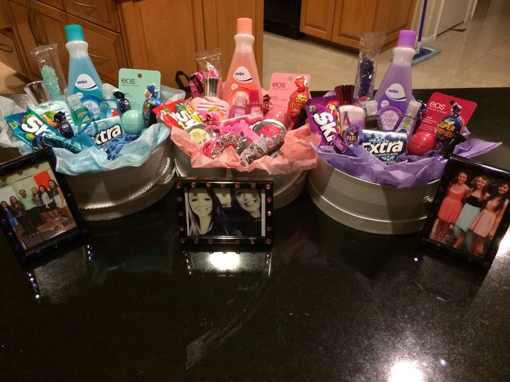 Color themed baskets for birthday gifts that I made