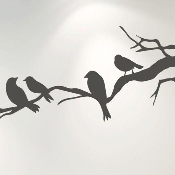Etiqueta de la pared de pájaros en rama