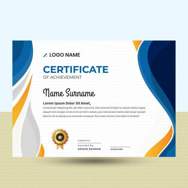 Modele De Certificat Abstrait Ondule Belle Certificate Templates Certificate Design Template Certificate Design