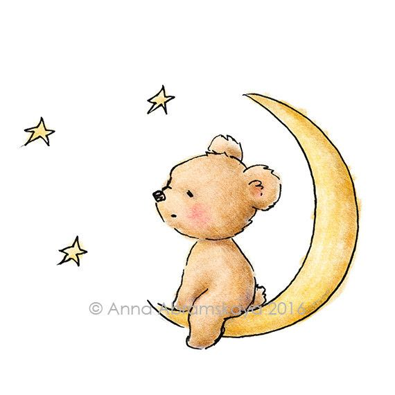 Copy of Archival Print.The drawing of teddy bear watching the stars. Nursery Wall Art, Children's illustration, Kid's gift.
