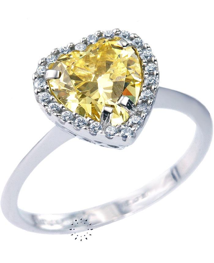 Δαχτυλίδι Καρδιά 14 καράτια Λευκόχρυσο με Ζιργκόν της FaCaDoro  227€  http://www.kosmima.gr/product_info.php?products_id=10463