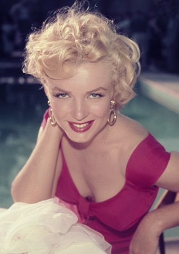 1952, Marilyn Monroe at a party thrown in her honor by 20th Century Fox, Beverly Hills
