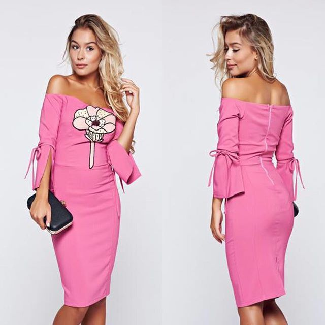 Rochie Artista roz tip creion cu umeri goi #dress #fashion #style #love #instagood #girl #beauty #beautiful #model #hair #shoes #cute #shopping #outfit #pretty #photooftheday #stylish #girls #ootd #me #styles #pink #heels #rochii2018