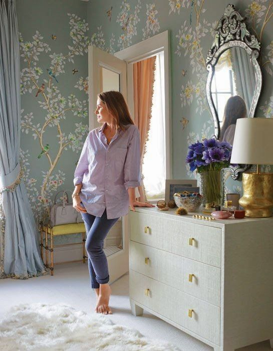Aerin Lauder in the Dressing Room of her NYC apartment Gracie WallpaperImage Architectural...