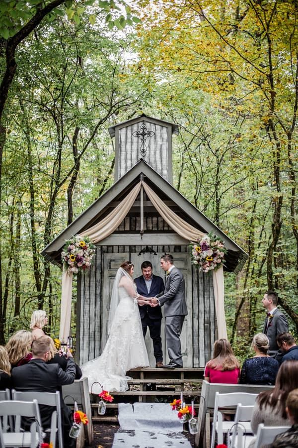 Sunflower Filled Intimate Wedding At Chapel In The Hollow Intimate Wedding Chapel Wedding Wedding Chapel Decorations