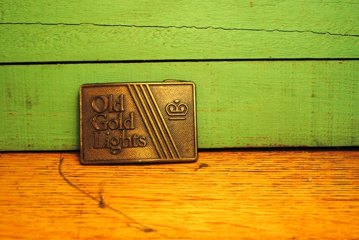 """Vintage Brass """"OLD GOLD LIGHTS"""" Belt Buckle tobbaco cigarette belt buckle ironic Manly Man or super cool chick hunting man cave geekery cool"""