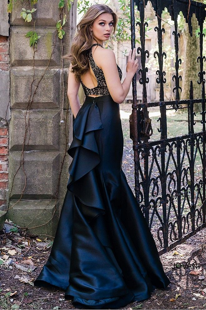 beabc73064 Black Fitted Two-Piece Prom Dress JVN41194 in 2019