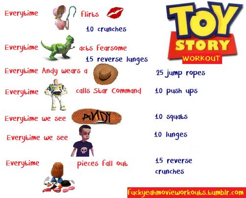 Toy Story workout. Working out whilst being able to enjoy a classic Disney movie