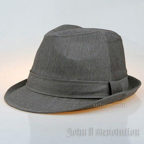Grey Fedora for Men All Season Formal Dress Gray Trilby Felt Hat 7 1/8 ~ 7 5/8