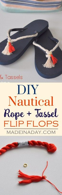 DIY Rope + Tassel Nautical Flip Flops, Easily decorate plain flip flops with rope and tassels to create a trendy tassel look! See the tutorial on madeinaday.com via @madeinaday