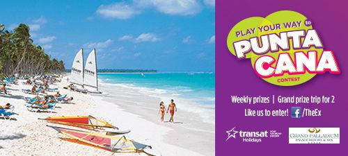 Need a holiday? Enter our new Play Your Way to Punta Cana Contest on Facebook. To enter, simply Like our Facebook page and participate in the fun weekly questions.  Four Weekly Winners will be selected each week to win Ride All Day or Admission Passes. One Grand Prize Winner and a guest will pack their bags for a seven-night, all-inclusive holiday at the Grand Palladium Palace Resort in Punta Cana, Dominican Republic!  #contest #Caribbean #CNE2014 #vacation #letsgototheex