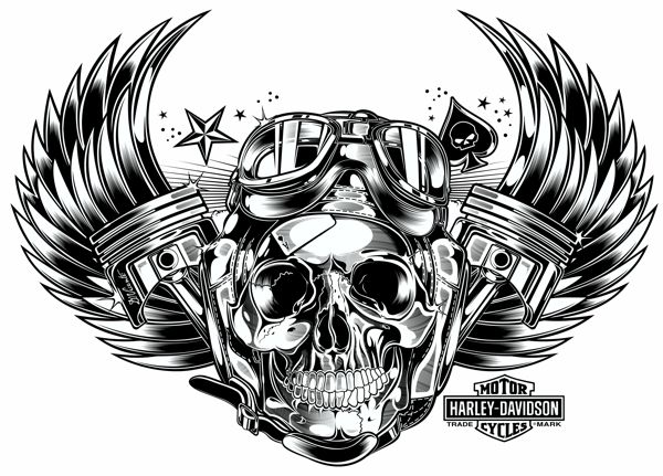 Harley Davidson Skull Piston And Wings Things I Love Pinterest