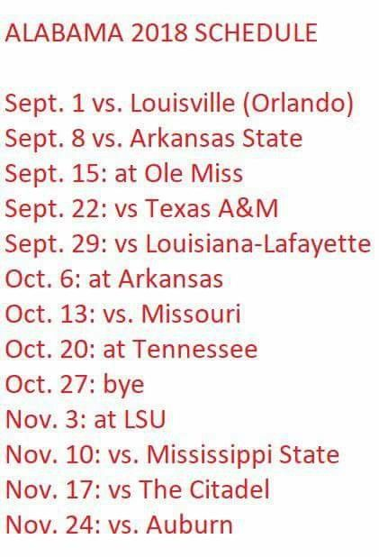 2018 Alabama football schedule ❤️❤️ can't wait for Sept 1st already!!
